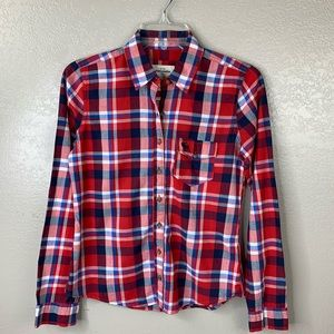 Girls Abercrombie Red Plaid Button Front Shirt